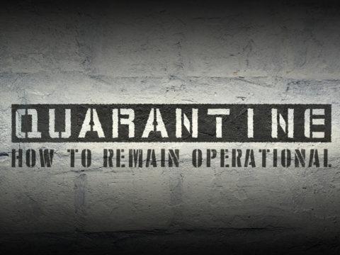 quarantine stencil print on the grunge white brick wall